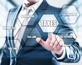 Taxes Accounting Calculation Financial Budget Business concept